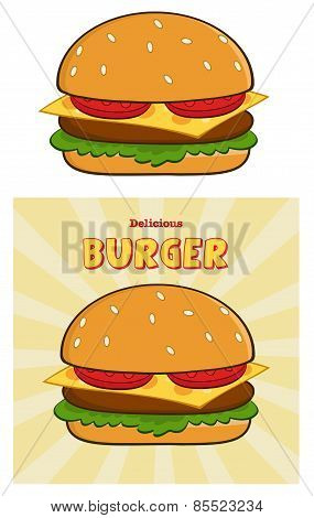 Burger Design Card With Text. Collection Set