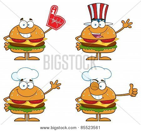 Cartoon Illustration Of Hamburger Characters 3. Collection Set