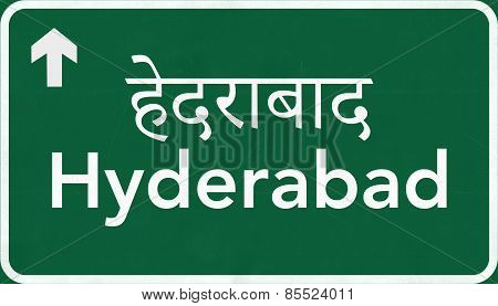 Hyderabad India Highway Road Sign