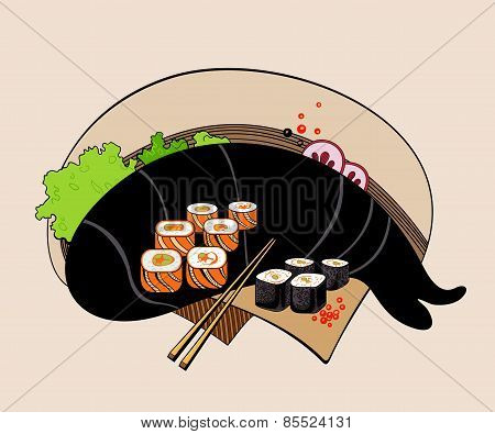 Illustration of sushi rolls.