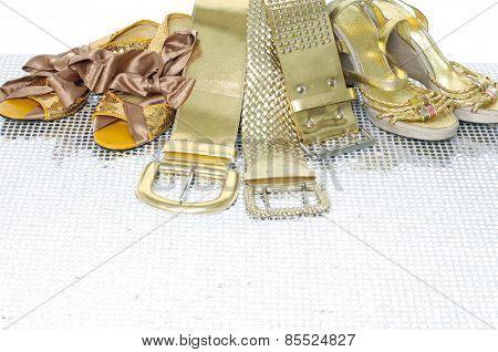 Set of female fashion belts and shoe