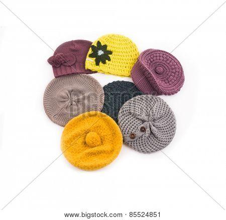 Many woolen knit hat
