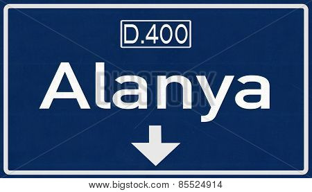 Alanya Turkey Highway Road Sign