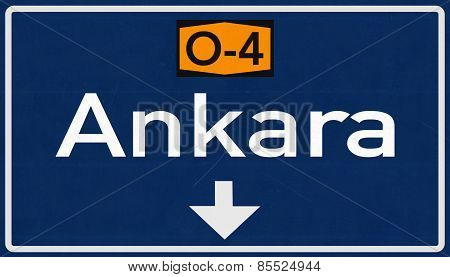 Ankara Turkey Highway Road Sign