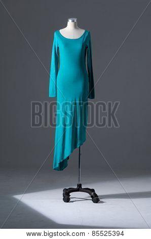 full-length blue female sundress clothing on mannequin