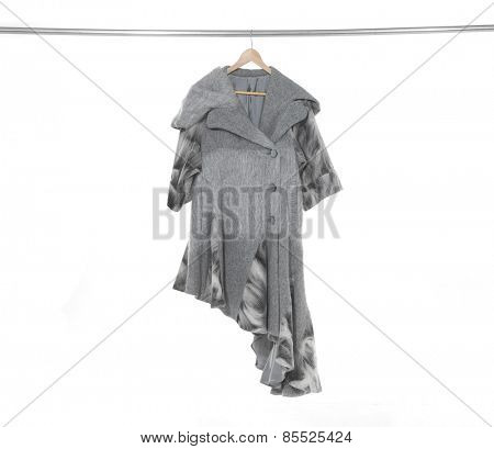 female  coat  clothing hanging a on display