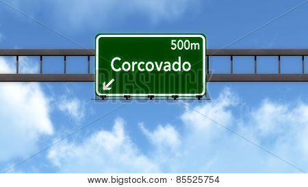 Corcovado Brazil Highway Road Sign