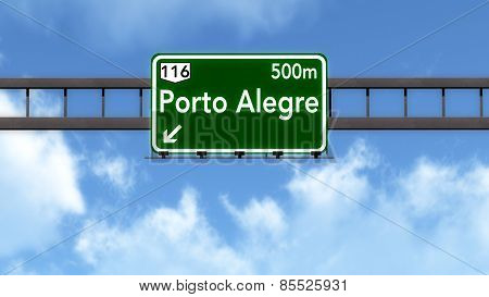 Porto Alegre Brazil Highway Road Sign