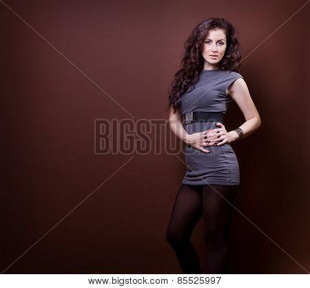 Sexy Beautiful Woman In Shot Dress