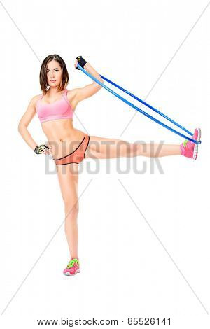 Beautiful athletic woman posing with hula hoop. Fitness sports. Healthcare, bodycare.