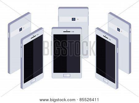 Isometric generic white smartphone