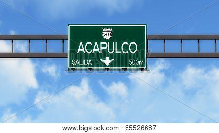 Acapulco Mexico Highway Road Sign