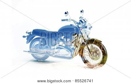 Double exposure image of motorbike and palm tree on a beautiful beach. Perfect for a relaxing vacation trip.