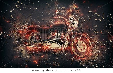 Fiery burning motorbike conceptual image with flames erupting from the wheels and frame depicting extreme sport, speed and danger over a dark background