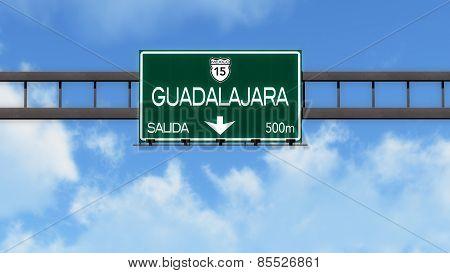 Guadalajara Mexico Highway Road Sign