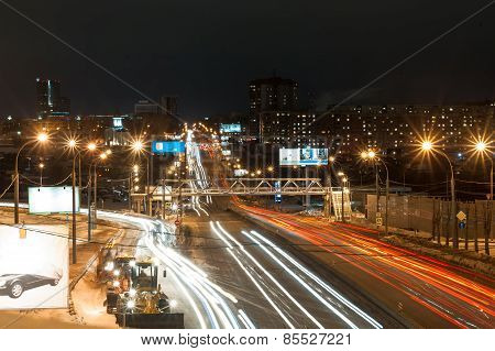Novosibirsk, Russia, Nemirovich-danchenko Street At Night