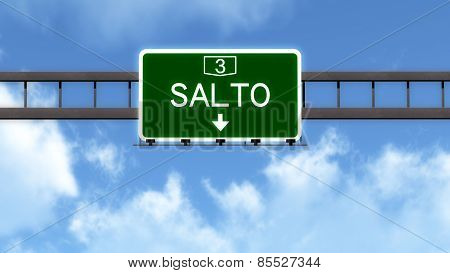Salto Uruguay Highway Road Sign