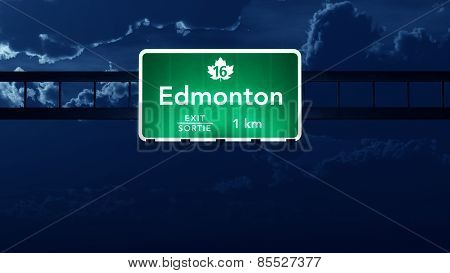 Edmonton Transcanada Canada Highway Road Sign at Night