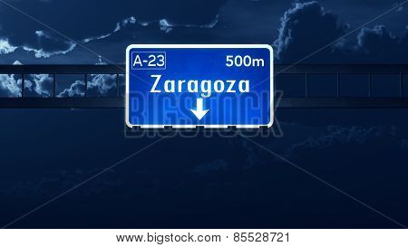 Zaragoza Spain Highway Road Sign