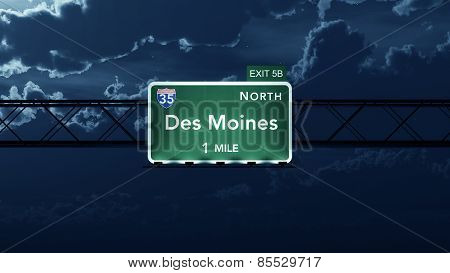 Des Moines USA Interstate Highway Road Sign