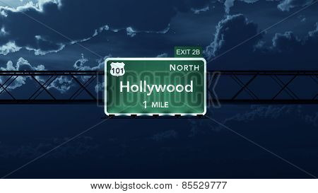 Hollywood USA Interstate Highway Road Sign