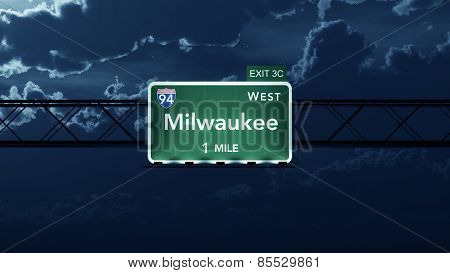 Milwaukee USA Interstate Highway Road Sign