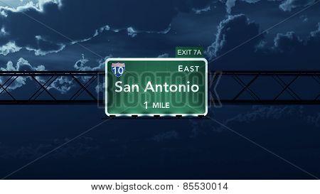 San Antonio USA Interstate Highway Road Sign