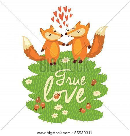Love card with cute foxes in vector