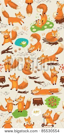 Cartoon seamless pattern with cute foxes. Forest background in bright colors
