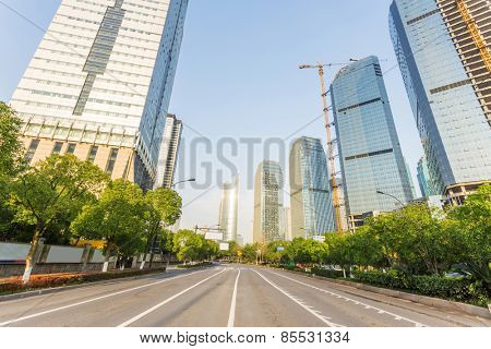 skyline,urban road and office building at daytime.