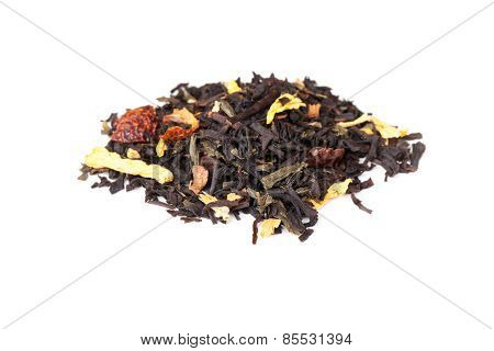 Mixed Black And Green Tea With Rosehip And Herbs Isolated
