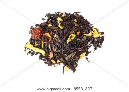 Mixed Black And Green Tea With Herbs Isolated On White