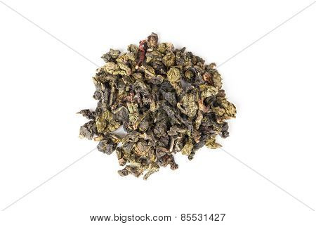 Chinese Green Oolong Tea Isolated On White, Top View
