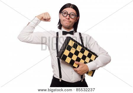 Nerd chess player isolated on white