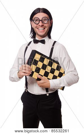 Funny man with chessboard isolated on white