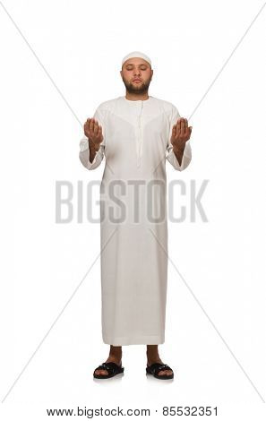 Concept with arab man isolated on white