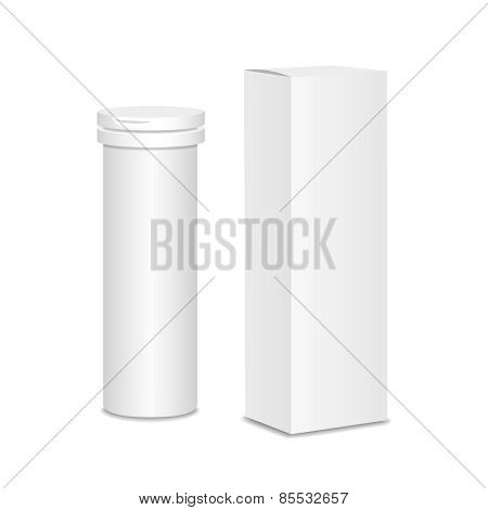 Blank medicine bottle  illustration. Package of drugs with package  box