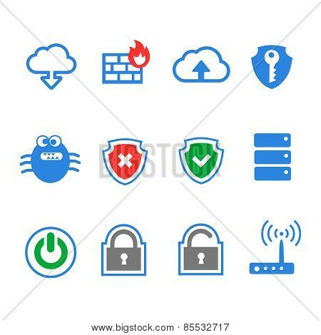 Simplus series icon set. Network connections and mobile devices.