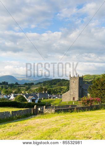 Beautiful English village of Hawkshead Lake District England uk on a beautiful summer day