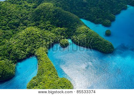 Beautiful view of Palau islands from above