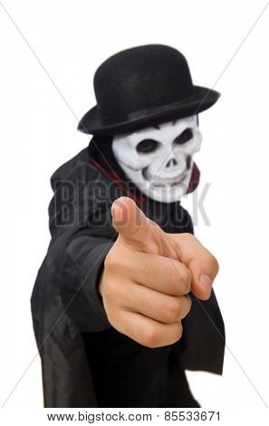 Man in horror costume with mask isolated on white