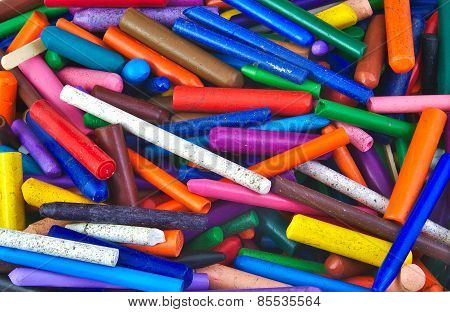 Bunch of very used wax crayons