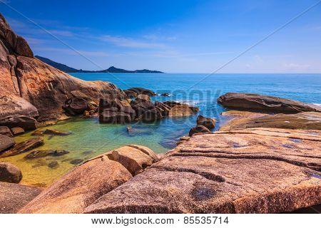 Huge stones polished smooth sea. Lamai Beach in Koh Samui, Thailand