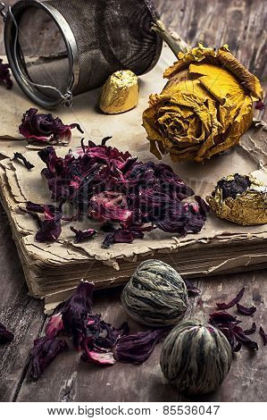 Old Book Is Strewn With The Tea Leaves