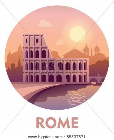 Vector icon representing Rome as a travel destination