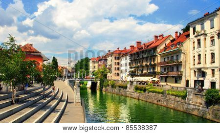 Ljubljana, Slovenia -  July 28, 2014: Old Town Embankment In Ljubljana. Ljubljana Is The Business An
