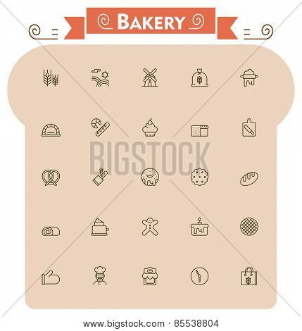 Set of the bread and bakery related icons
