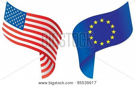 Flags Of Usa And Europe. Vector Illustration