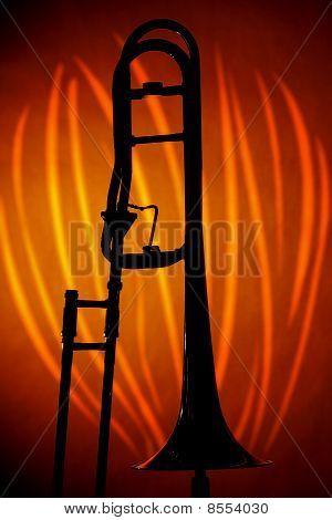 Trombone In Silhouette On Orange