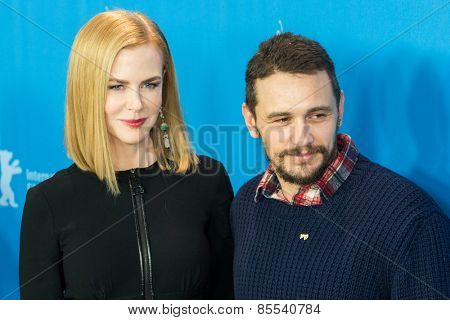 BERLIN, GERMANY - FEBRUARY 06: Actress Nicole Kidman and actor James Franco, photocall 'Queen of the Desert'. 65th Film Festival at Hyatt Hotel on February 6, 2015 in Berlin, Germany.